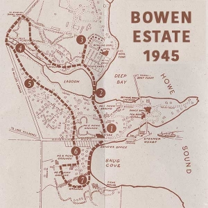 An old brown map produced in 1945 by the Union Steamship Company showing their estate: the entire Snug Cove and Deep Bay area
