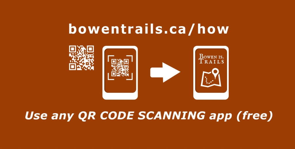 A graphic show how you hold a phone using a QR scanning app, and instantly bring up a website